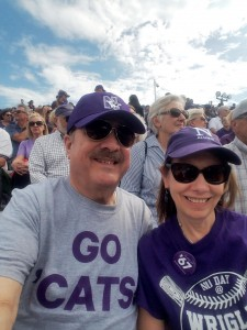 """A selfie of the author and her husband seated among alums who now qualify to be in the """"Half-Century Club"""" at NU."""